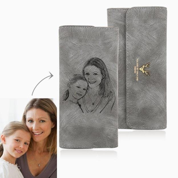 Personalized Women's Trifold Sketch Photo Grey Leather Wallet