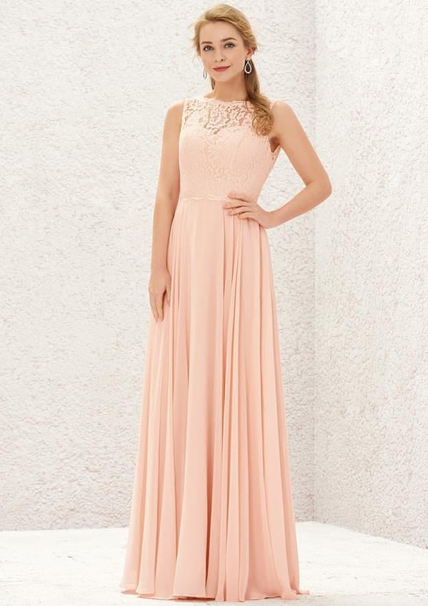 A-line/Princess Sleeveless Long/Floor-Length Chiffon Bridesmaid Dress With Lace