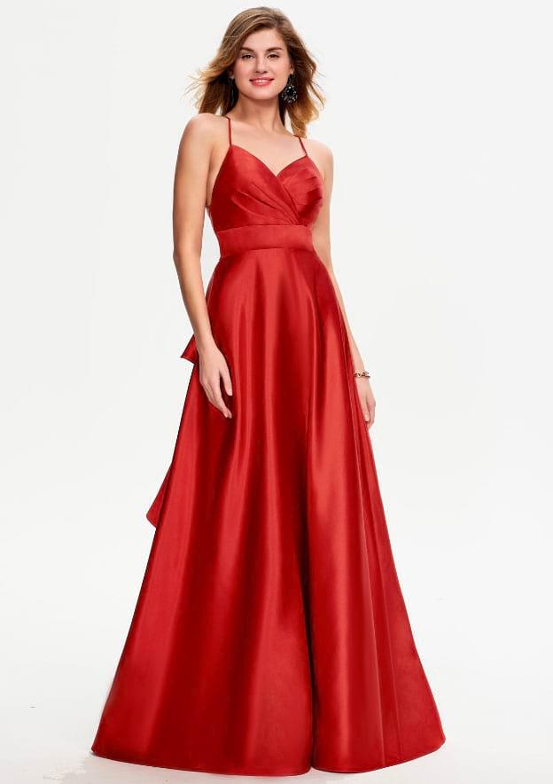 A-line/Princess Sleeveless Long/Floor-Length Satin Prom Dress With Ruffles