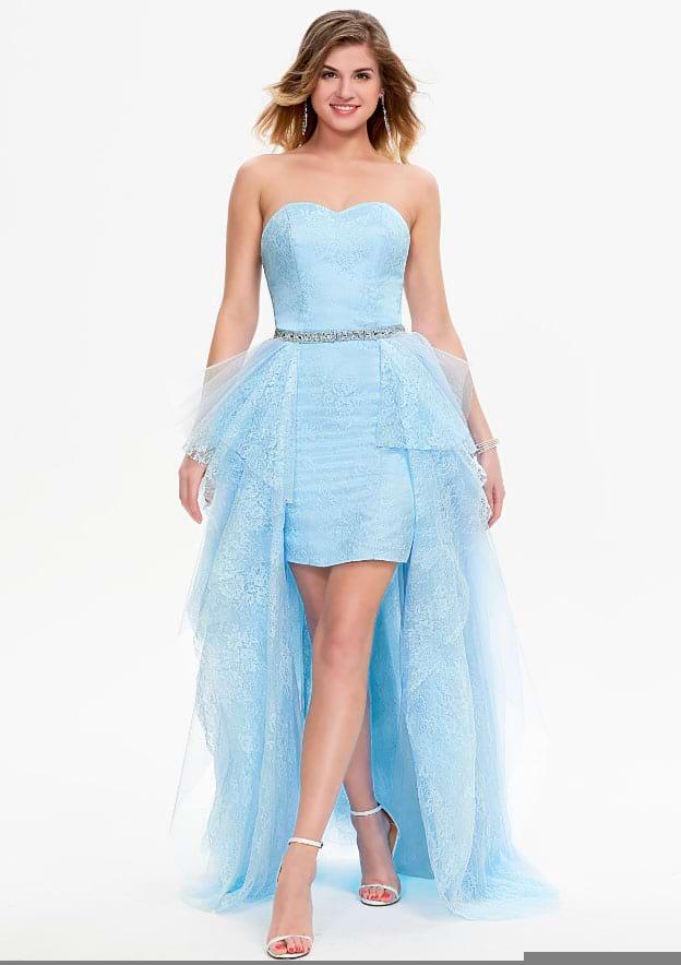 A-line/Princess Sleeveless Detachable/Knock-down Lace Prom Dress With Rhinestone