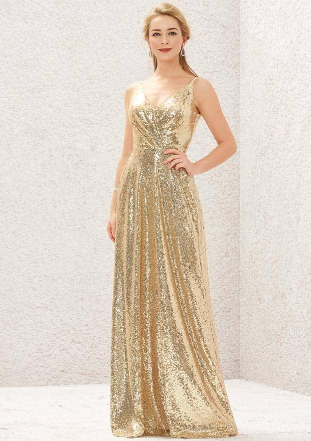 A-line/Princess Sleeveless Long/Floor-Length Sequined Prom Dresses With Pleated Lace