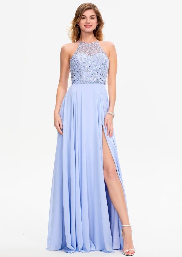 A-line/Princess Sleeveless Long/Floor-Length Chiffon Prom Dress With Split/Sequins/Beading