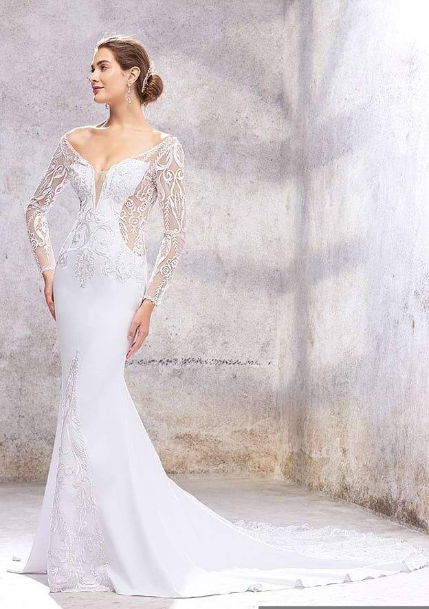 Trumpet/Mermaid Full/Long Sleeve Court Train Elastic Satin Wedding Dress With Lace