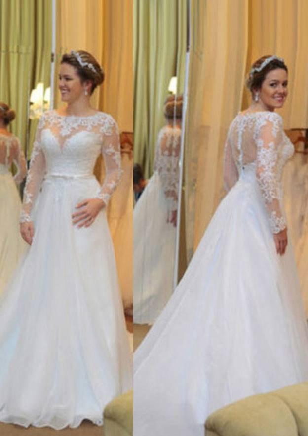 A-Line/Princess Bateau Full/Long Sleeve Court Train Chiffon Wedding Dress With Appliqued Lace Sashes