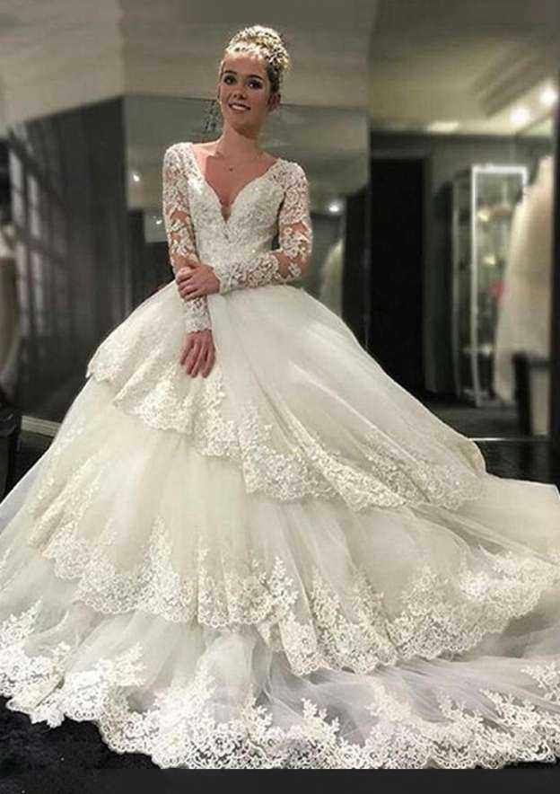 Ball Gown V Neck Full/Long Sleeve Cathedral Train Tulle Wedding Dress With Appliqued Hem