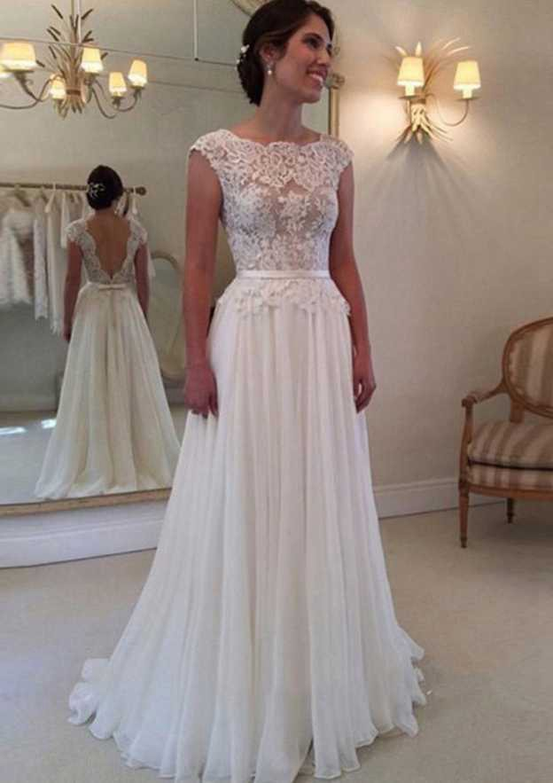 A-Line/Princess Bateau Sleeveless Long/Floor-Length Chiffon Wedding Dress With Appliqued