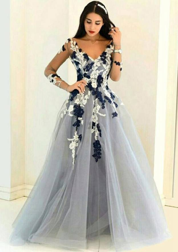 A-Line/Princess V Neck Full/Long Sleeve Sweep Train Tulle Prom Dress With Appliqued