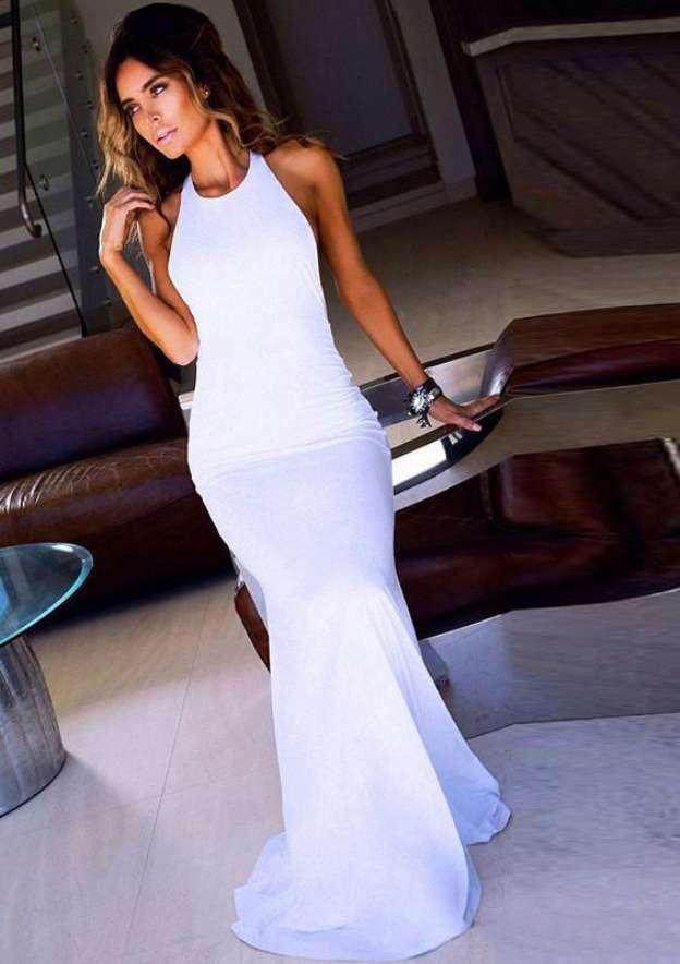Trumpet/Mermaid Halter Sleeveless Sweep Train Jersey Prom Dresses