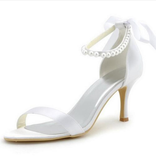 Peep Toe Pumps Sandals Spool Heel Satin Wedding Shoes With Imitation Pearl Ribbon Tie