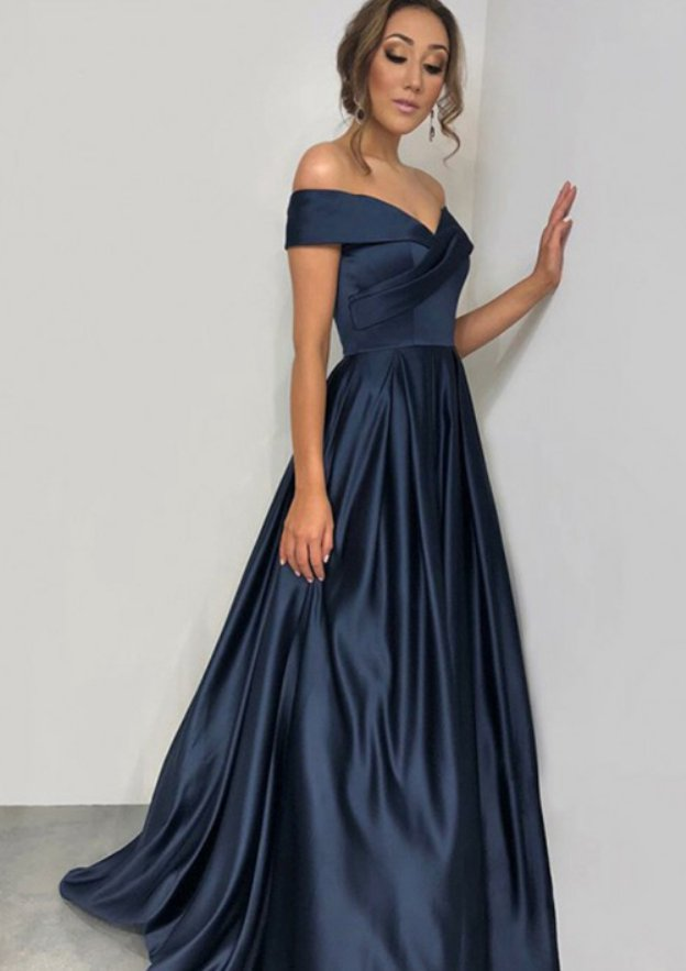 A-Line/Princess Off-The-Shoulder Sleeveless Sweep Train Charmeuse Prom Dress With Pleated