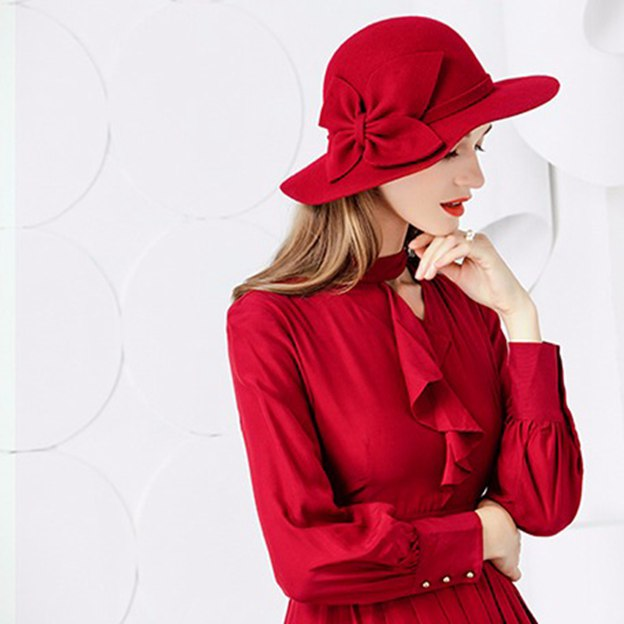 Ladies' Eye-catching/Beautiful Wool Bowler/Cloche Hats/Tea Party Hats With Bowknot
