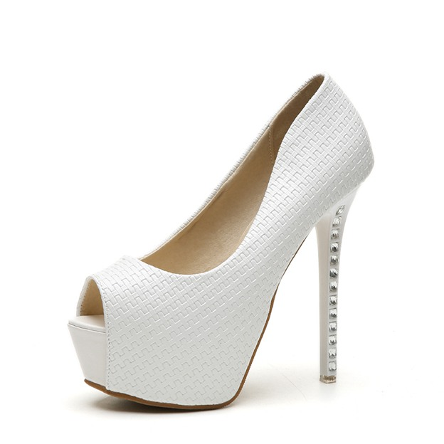 Women's Leatherette With Rhinestone Platform Pumps Heels Fashion Shoes