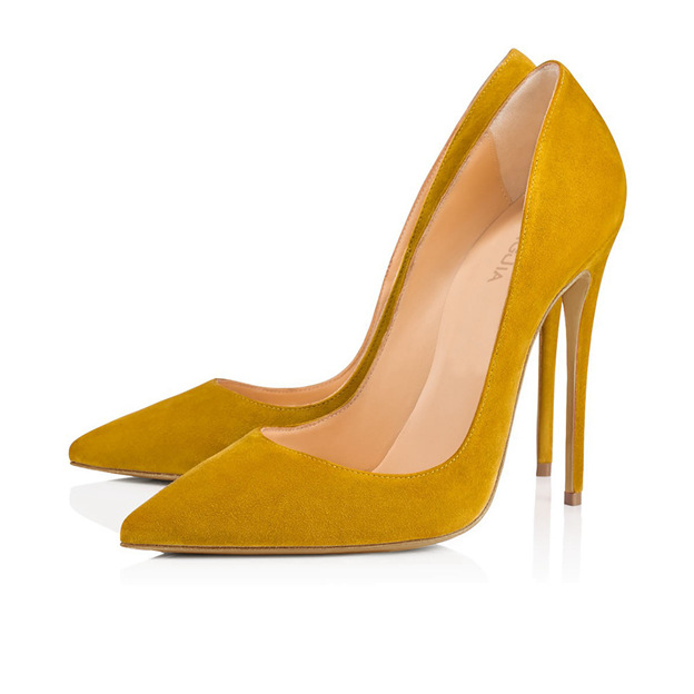 Women's Suede With Rivet Close Toe Heels Fashion Shoes