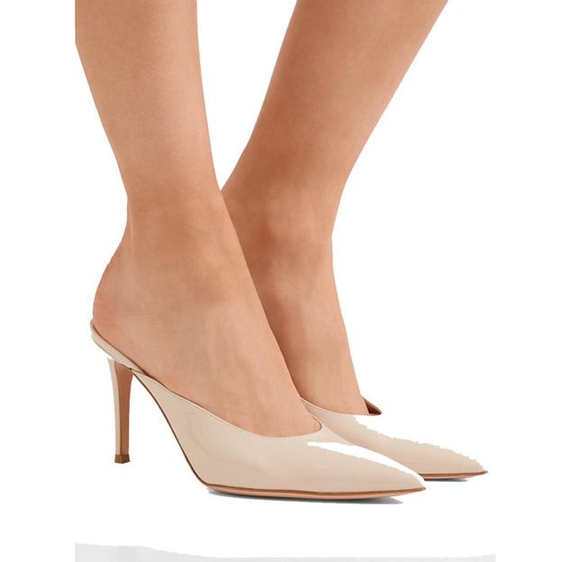 Women's Patent Leather Heels SlingBacks Fashion Shoes