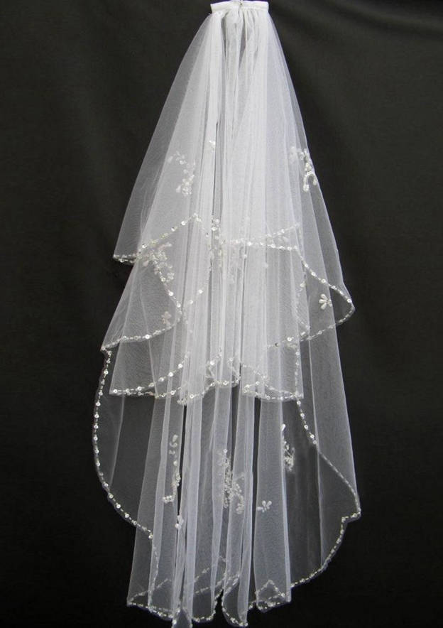 Two-tier Sequin Trim Edge Fingertip Bridal Veils With Beading Sequin