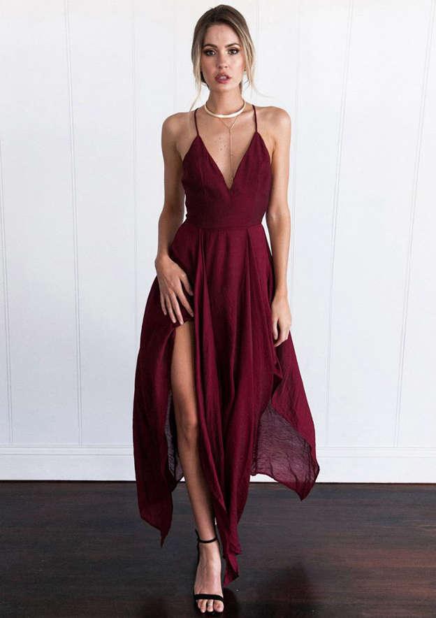 A-line/Princess Sleeveless Asymmetrical Chiffon Prom Dress With Split