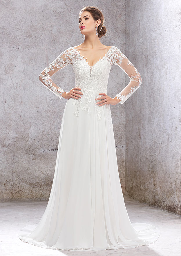 A-line/Princess Full/Long Sleeve Court Train Chiffon/Lace Wedding Dress With Sequins