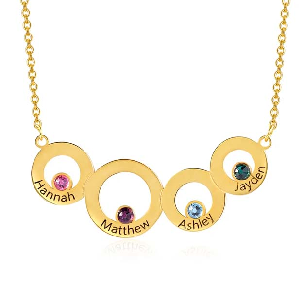 Personalized Four Circle Family Birthstone Engraved Name Necklaces
