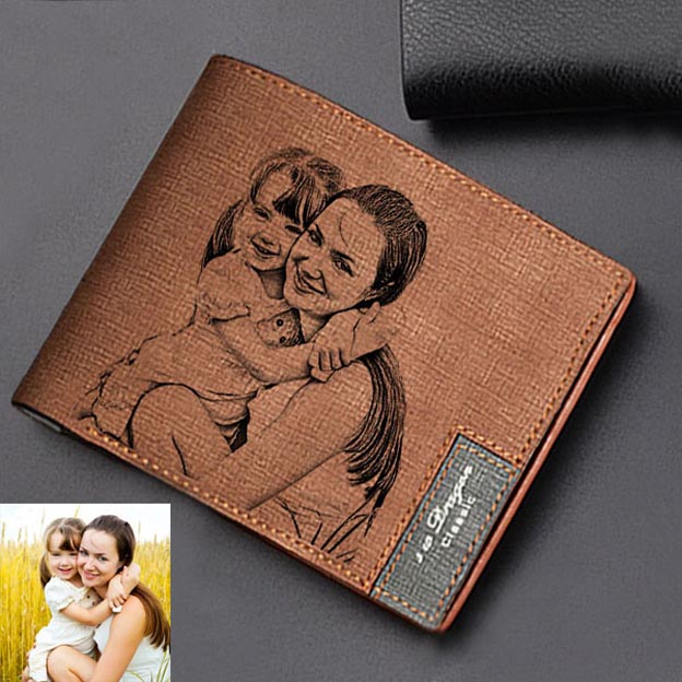 Custom Personalized Engraved Photo Leather Wallet