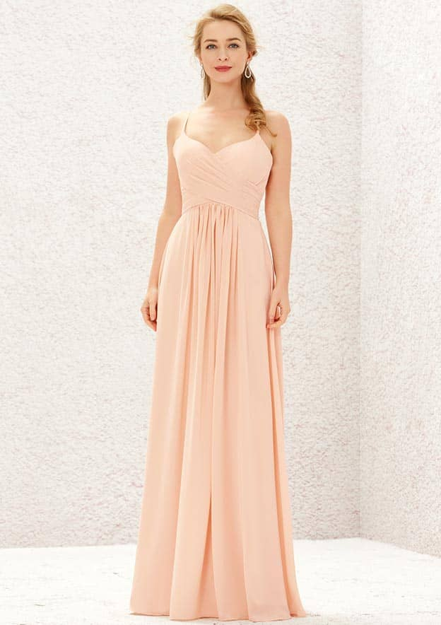 A-line/Princess Sleeveless Long/Floor-Length Chiffon Bridesmaid Dress With Pleated
