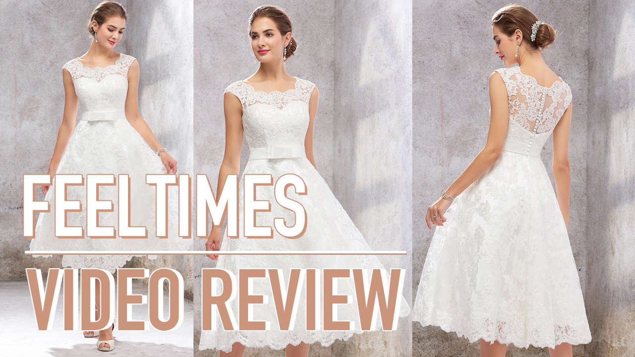 Wedding Dress M19138W丨A-line/Princess Sleeveless Tea-Length Satin/Lace Wedding Dress
